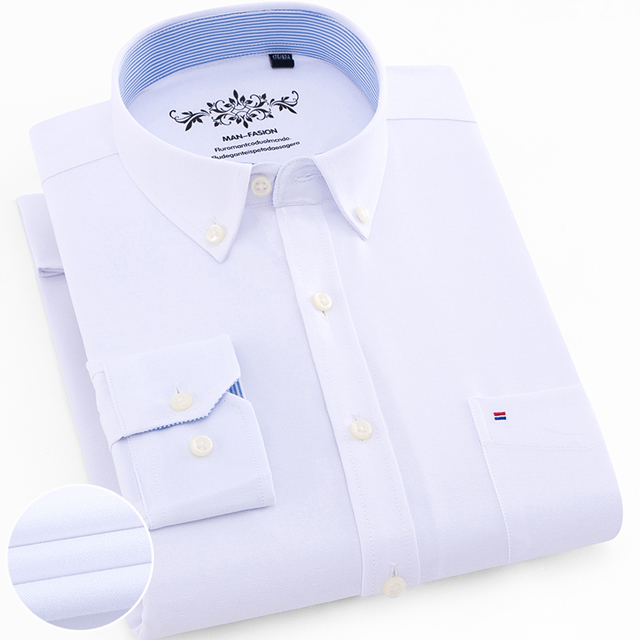 Men's Plus Size Casual Solid Oxford Dress Shirt Single Patch Pocket Long Sleeve Regular-fit Button-down Thick Shirts 9