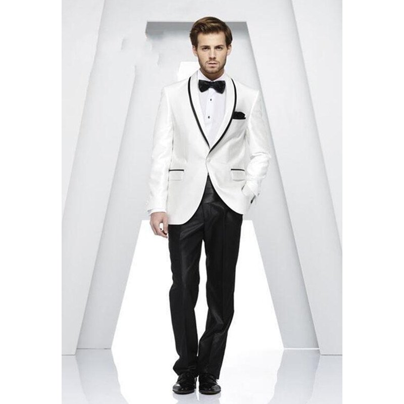 Costume Homme Groom Tuxedos One Button Groomsmen Shawl Lapel Men Wedding Suits Best Mens Suit Evening Clothing (jacket+pants)