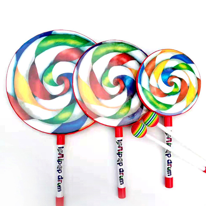 6/8/10 Inch Lollipop Drum Orff Toy Percussion Music Instruments Children Drum With Mallet Kids Baby Practice Drum Stick Set
