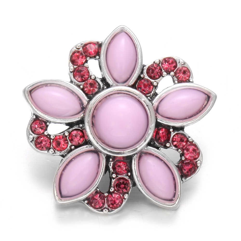 6 יח'\חבילה סיטונאי הצמד כפתור תכשיטי קריסטל פרחים 18mm הצמד כפתורי Fit עור מתכת כסף 18mm הצמד צמיד צמיד