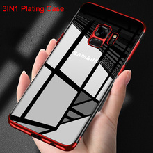 Plating 3in1 Case for Samsung S9 Case for Samsung Galaxy S8 Plus S10 Lite Soft TPU Case for Samsung S6 S7 Edge S5 Note 5 8 9 tanie tanio Peaktop CN(Origin) Plain Transparent Half-wrapped Case 3in1 Plating Soft TPU Full Cover Phone Case Galaxy S5 Galaxy S6 Galaxy S6 edge