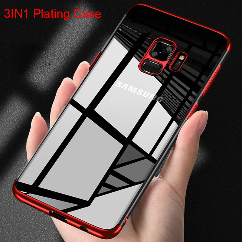 Plating 3in1 <font><b>Case</b></font> for <font><b>Samsung</b></font> S9 <font><b>Case</b></font> for <font><b>Samsung</b></font> Galaxy S8 Plus S10 Lite Soft TPU <font><b>Case</b></font> for <font><b>Samsung</b></font> S6 <font><b>S7</b></font> Edge S5 Note 5 8 9 image