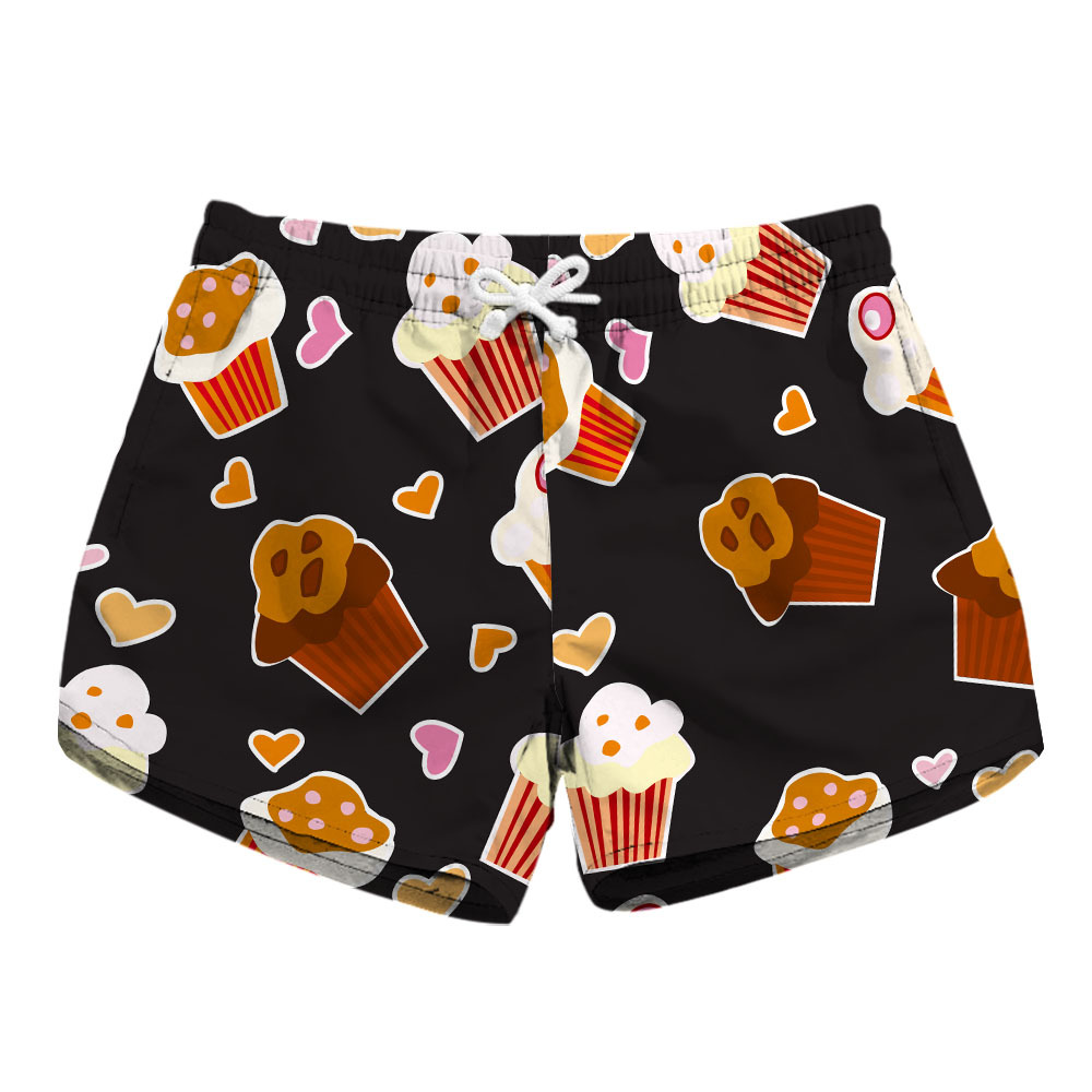 Digital Print Lady Speed Dry Shorts Fashion Ice Cream Print On Both Sides Pocket Casual Shorts