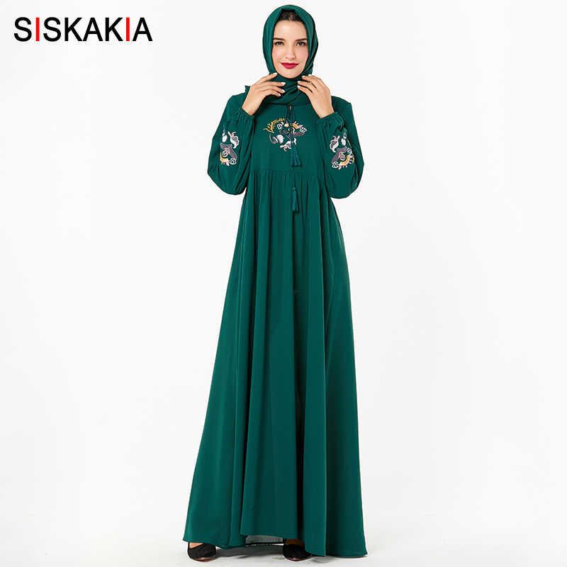Siskakia Nữ Áo Dài Tua Rua Dây Rút Cao Cấp Đầm Xòe Cổ Hồi Giáo ĐẦM THU 2019 Màu Vàng Sang Trọng Thêu Mặc