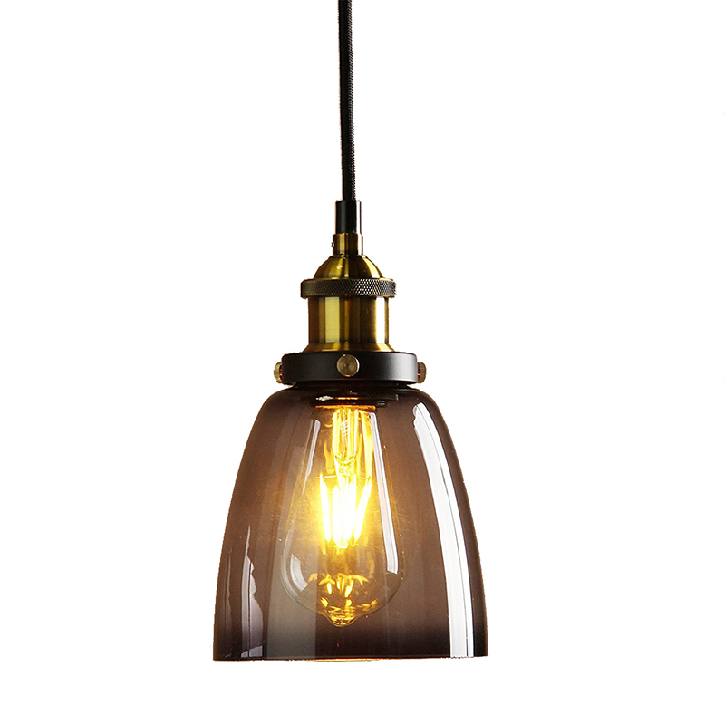 Vintage Industrial Metal Finish Black Gray Glass Shade Retro Ceiling Light Vintage Hanging Light Fitting (diameter 14cm Glass Sh