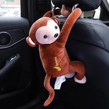 Caixa de tecido dos desenhos animados macaco animal carro pendurado papel guardanapo caixa capa titular papel organizador caixas de tecido