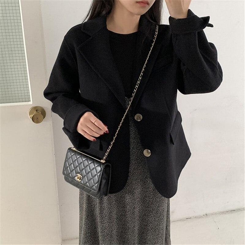 H67b954e39e894e6082c9d4f0ad6b65163 - Winter Korean Revers Collar Solid Woolen Short Coat