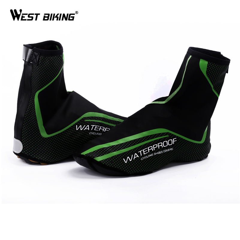 WEST BIKING Cycling Shoes Cover Full Waterproof Zipper Winter Thermal Bike Overshoe MTB Bicycle Shoe Cover Copriscarpe Ciclismo