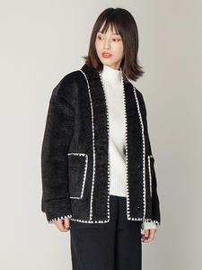 2019 autumn and winter coat faux fur coat short section small fragrance coat women v neck long sleeve black jacket women