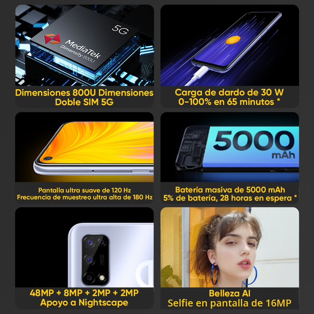 [Ship from Spain and France 3 Days delivery]realme 7 5G Dimensity 800U Smartphone 120Hz Display 48MP 5000mAh 30W Dart Charge 2