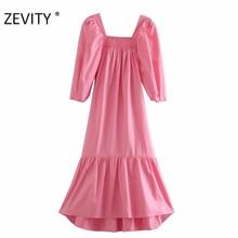 ZEVITY frauen fashion square kragen puff sleeve rosa farbe midi kleid weibliche saum falte rüschen casual vestido chic kleider DS4425