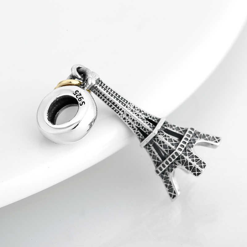 新 925 スターリングシルバーファッション首都パリタワーペンダントビーズフィットオリジナルパンドラ diy ブレスレットチャームジュエリーメイキング