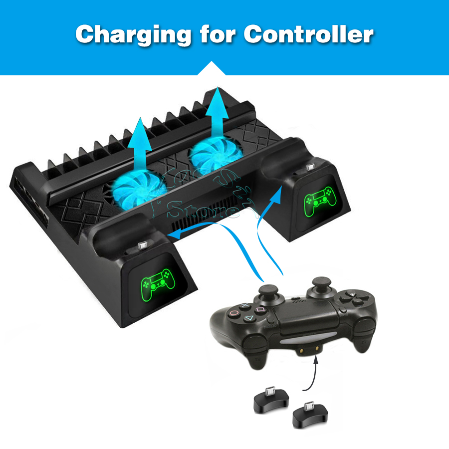 Ps 4 Slim Console Bracket PS4 S Stand 2 Joystick Charger 2 Cooling Fan 12 Discs Holder for Playstation 4 Slim Games Accessories 2