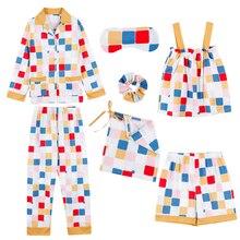 Jrmissli 2020 Groene Plaid Vrouw Pyjama Set Katoen Eenvoudige Vrouwelijke Homewear Kleding 7 Stuks Pyjama Pak