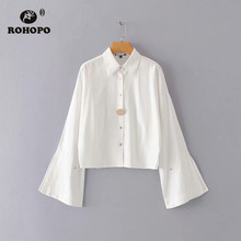 ROHOPO Flared Long Sleeve Lapel collar Big Buttons Solid White Blouse Side Slip Ladies Chic Female Top Blusa #1668