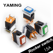 цена на Rectangle Metal Rocker Switch 15A/250V Electrical Normally Open Power Latching/Reset With Lamp Push Button 4 Pins