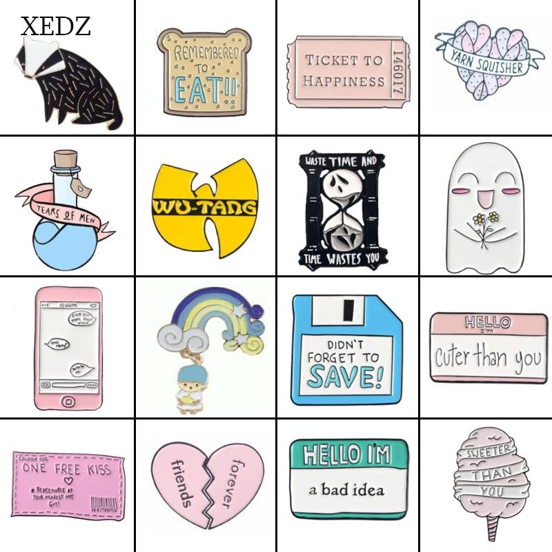 XEDZ جديد الموضة شخصية الخبز الآيس كريم تذكرة النسر جرو الحب زجاجة دواء شارة بروش جمع الدنيم الملابس با