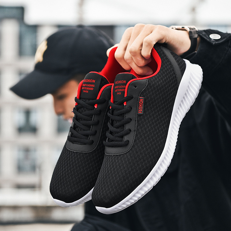 Confortable Casual Shoes Men Sneakers Black Mesh Mens Shoes Lace-up Non-slip Male Shoes Outdoor High Quality Male Footwear