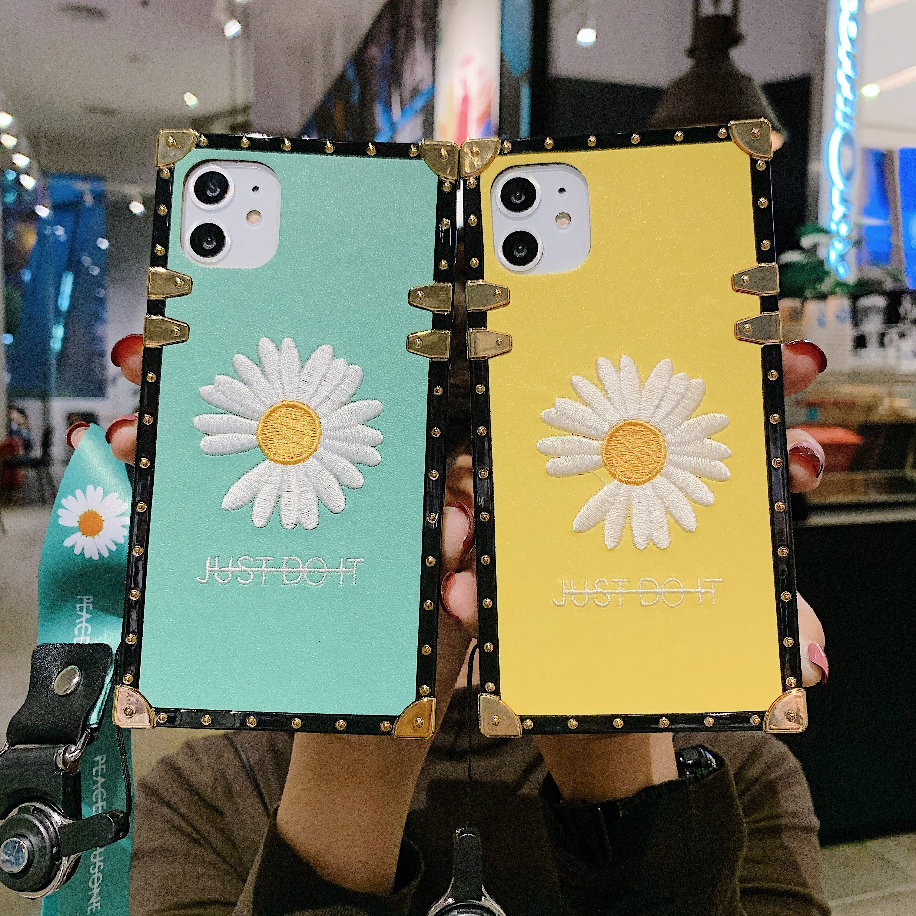 Case For Samsung S20 Ultra S20 Plus Note10 + S10 Plus S10e Note 9 Note8 S9 S8 Cover Square Embroidery Floral Daisy Coque + Strap