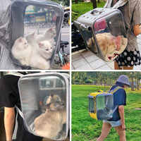 Large Space Pet Carrier Backpack for Cats and Dogs with Mesh Ventilation Safety Strap Easy-Fit for Travel Hiking Walking