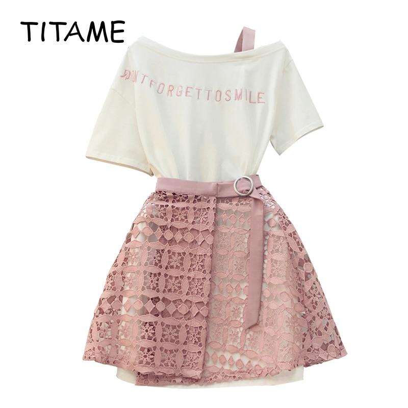TITAME Women Tshirt Skirt Sets 2 Piece Suit Girl Slash Collar Off Shoulder Long T Shirt & Hollow Out Lace Skirt Suits Skirts Set