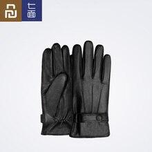 Youpin guantes Qimian de piel de cordero para hombre y mujer, de dedo, impermeables, de cuero suave español, cálidos, para invierno