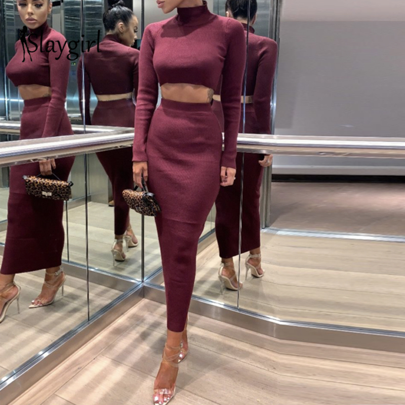 Slaygirl 2019 Autumn Bodycon Sexy 2 Piece Set Women Fashion Crop Top And Long Sleeve Casual Two Piece Set Solid Clothes Outfits
