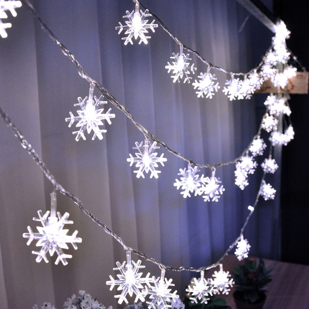 10M 80LED Battery Powered LED Christmas Snowflakes Garland String Fairy Lights Outdoor For Tree Holiday Party New Year's Decor