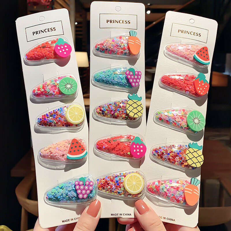 Hot Sale 5PCS Snap Hair Clip Baby Girls Fruit Sequin Hairpin Barrette Hair Accessories Cute Fashion Hair Pin