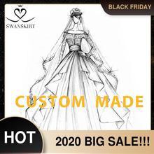 Swanskirt Vestido de boda personalizado 02 Sarahjah, apliques DZ, pelota personalizada, hecho en china, de talla grande, Vestido de novia