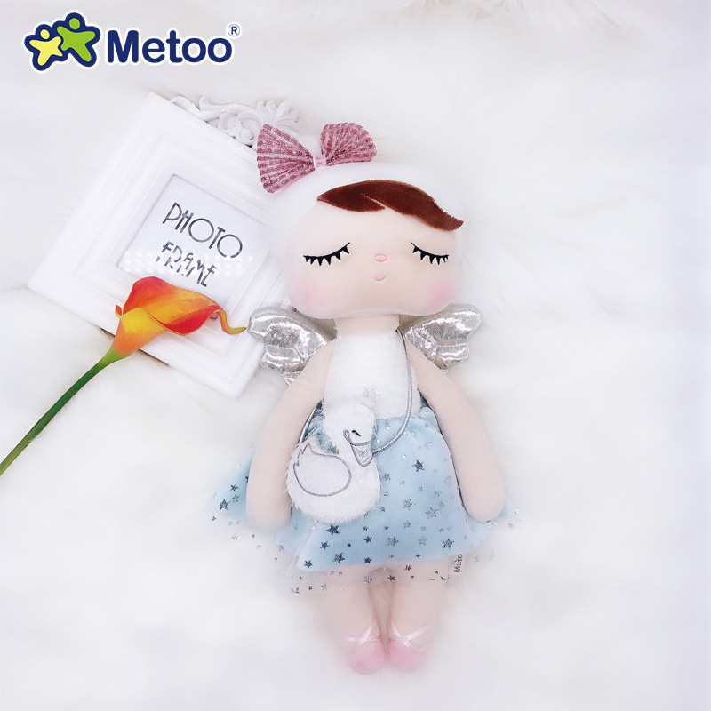Metoo Curly Angel Plush Stuffed Sweet Rabbit Cute Animals For Kids Toys Angela Doll For Girls Birthday Christmas Gift Dress