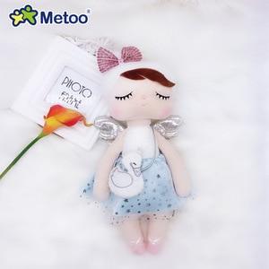 Metoo Curly Angel Plush Stuffed Sweet Rabbit Cute Animals For Kids Toys Angela Doll For Girls Birthday Christmas Gift Dress(China)
