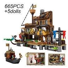 A aventura pirata navio blocos de construção brinquedos construtor das crianças criador idéias diy tijolos compat crianças presentes