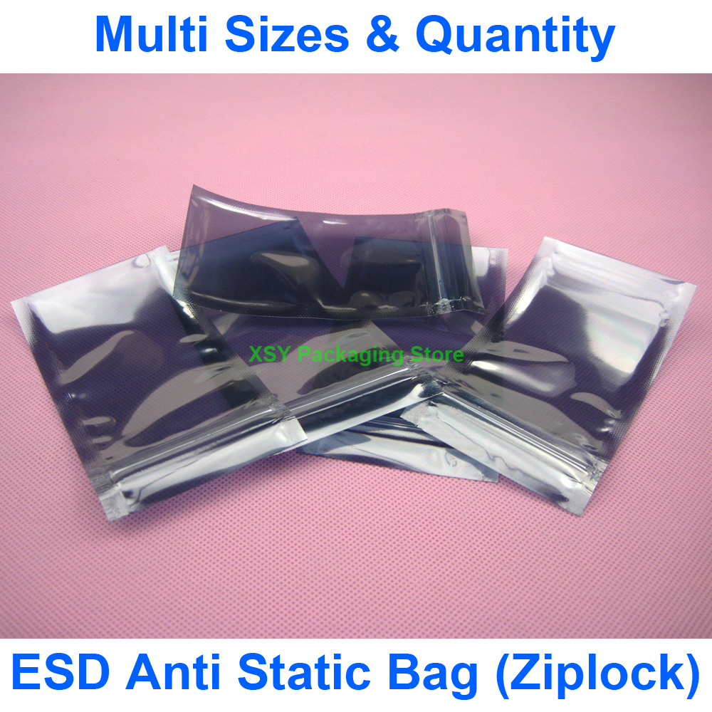"Разные размеры ESD Антистатический защитный Ziplock Сумки (ширина 3 ""-5,5"") x (длина 4,3 ""-7"") eq. (От 80 до 140 мм) x (от 110 до 180 мм)"
