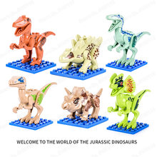 6 pcs Bricks My Animal Figures Toys For Children Gift Dinosaurs Legoing Jurassic World 2 Tyrannosaurus Rex Building Blocks(China)