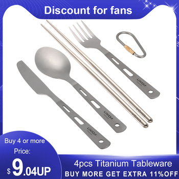 4pcs Titanium Tableware Camping Fork Spoon Ultra Light Outdoor Cutlery Set for Picnic Travel Backpacking Hiking Kitchen 1