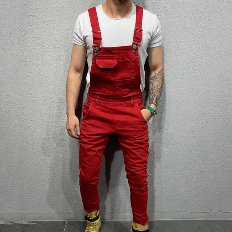 Fashion Men's Ripped Jeans Jumpsuits High Street Distressed Denim Bib Overalls For Man Suspender Pants Size S-XXL