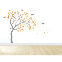 Landscape Tree and Birds Wall Decal Nursery Tree Wall Sticker Nursery Wall Mural Kids Room Wall Art Housse Decoration