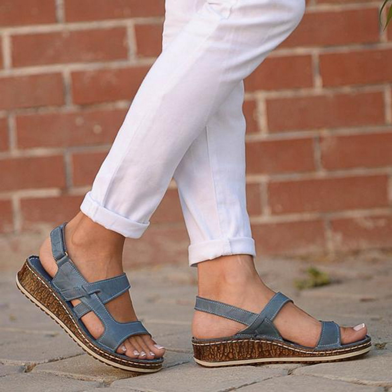 Platform Wedge Beach-Shoes Women Sandals Open-Toe Summer New Casual 3-Color Stitching