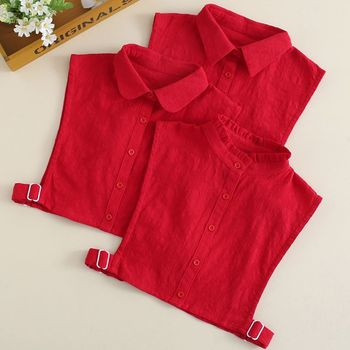 THINKTHENDO Womens Crochet Lace Red Fake Collar Button Down Detchable Ruffles Half-Shirt barbour essential chunky half button red
