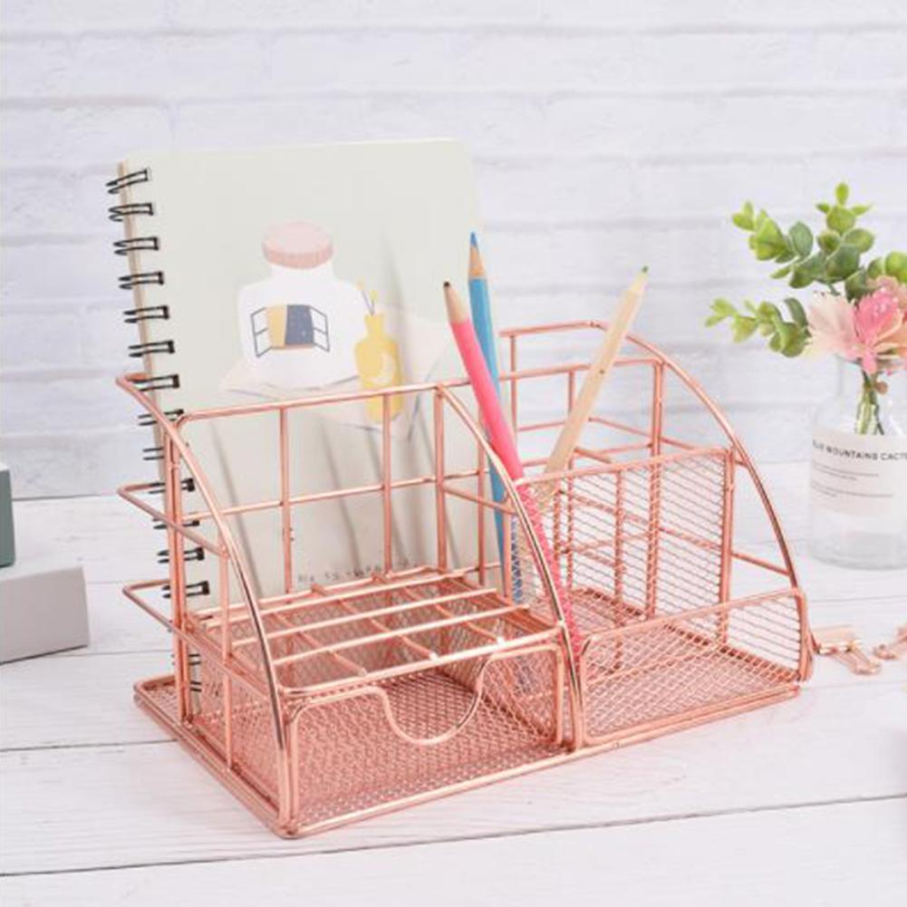 High Quality Multi-function Desktop Storage Rack Document Letter Stationery Holder Rose Gold Desk Organizer Office Supplies