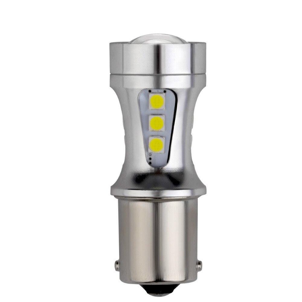 10 pièces P21W BA15S 1156 18W 18SMD LED Blanc puce LED 3030 1157 7443 T15 De Frein Automatique Feux De Recul Lampe Ampoule Voiture ampoule LED 12V