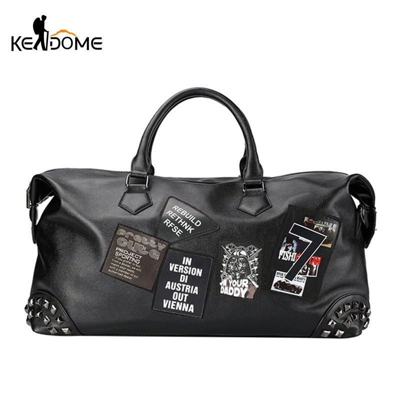 PU Soft Leather Fitness Gym Bags For Men Rivet Design Training Shoulder Sport Bag Handbag Traveling Bag With Pattern  XA626WD