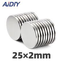 3/10/50 pcs N35 25x2mm neodymium magnet 25 * 2mm super strong neodymium disc small magnets rare earth magnets 25 x 2mm 100pcs neodymium n35 dia 15mm x 2mm strong magnets 15x2 disc ndfeb rare earth for crafts models fridge sticking 15 2mm 15mm 2mm