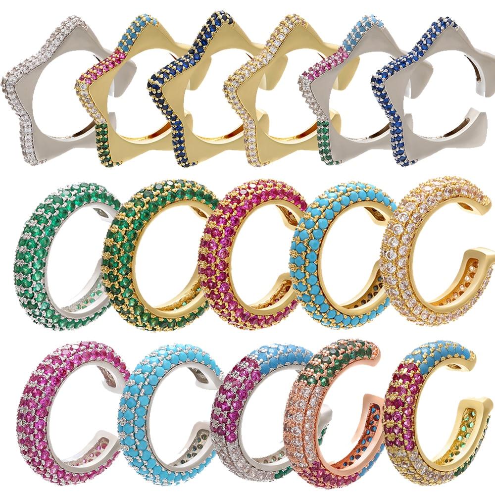 ZHUKOU-pendientes de circonia cúbica con forma de C y Estrella, pendientes sin perforaciones, joyería, 1 pieza, 2020, 15x15mm, modelo: VE131