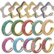 ZHUKOU 1 sztuka 2020 15x15mm CZ kryształowa nausznica w kształcie litery C/kształt gwiazdy klipsy do uszu bez kolczyków dla biżuteria damska model:VE131