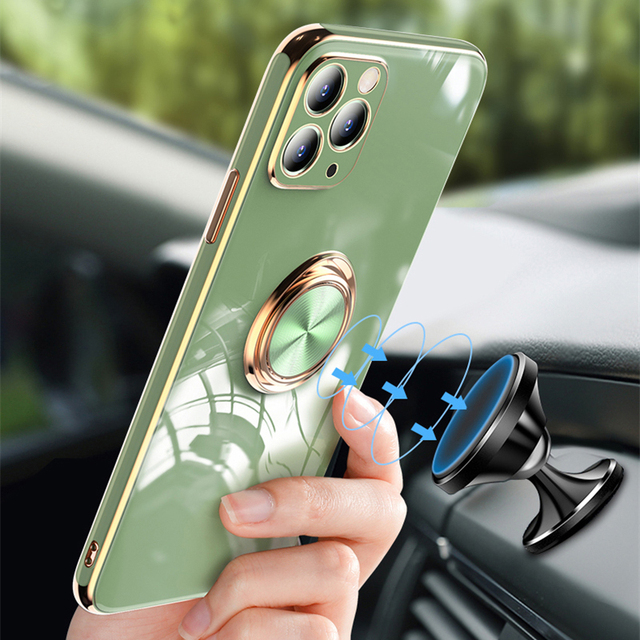 Luxury Plating Silicone Case For iPhone 12 11 Pro Max XS XR X 7 8 Plus iPhone12 iPhone11 Mini Soft Covers With Ring Holder Stand 5