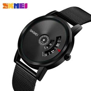 Image 2 - SKMEI Новые Креативные кварцевые мужские часы со стальным сетчатым ремешком, водонепроницаемые Модные повседневные мужские наручные часы, мужские часы