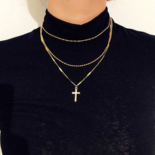 Multi-layer Necklace for Women Fashion Retro Cross Simple Wild Clavicle Chain Ladies Jewelry Accessories