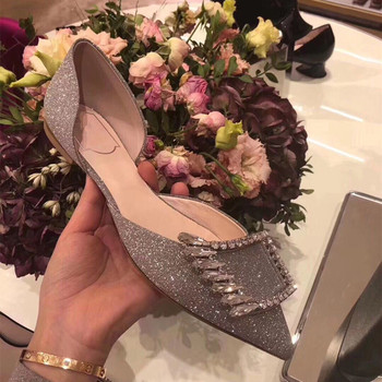 kmeioo 2020 hot style women glitter flat shoes point toe D'orsay Flats jeweled flat sandals black sliver elegant shoes